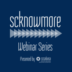 white text on navy background that says 'scknowmore Webinar Series Presented by SCCADVASA'